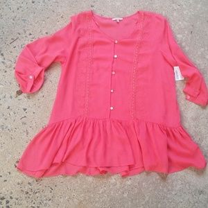 Jodifl coral embroidered flounce top